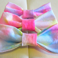 "Multicolor Tie-Dye Pastel 4"" Bow on French Barrette"