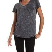 Slouchy Pocket V-Neck Tee by Charlotte Russe