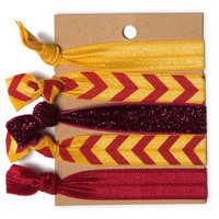 Burgundy & Gold Chevron Hair Ties