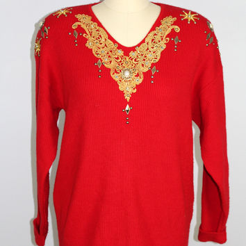 Vintage 1980's Sweater Red Gold Embellishments Rhinestone Large USA