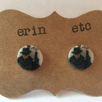 Handmade Plastic Fandom Earrings - Comic Pinup - Batman