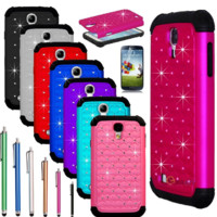 Rugged Rubber Bling Crystal Case Cover for SAMSUNG GALAXY S IV S4 i9500