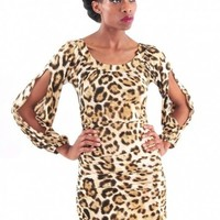 Leopard Open Sleeve Dress - Diva Hot Couture