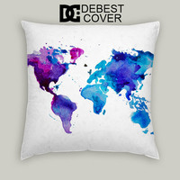 Watercolor World Map Pillow Cases Square Available In 16 x 16 Inches 18 x 18 Inches 20 x 20 Inches