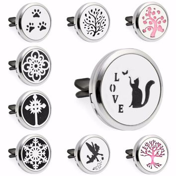Love Cat Angel Cross Tree of Life Magnet 30mm Car Diffuser Locket Vent Clip Essential Oil Aromatherapy Perfume Locket 10pcs Pads