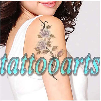 Baby blue vintage rose flower love tattoo arm leg hand body art temporary floral scar cover #9447
