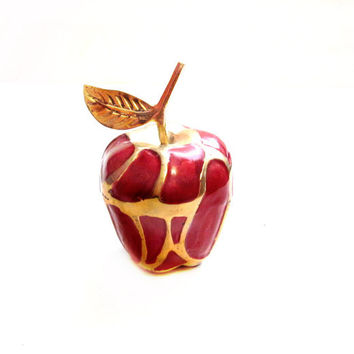 Red Enamel Brass Apple Figurine / Paperweight