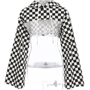 Checkered Hoodies Crop Top