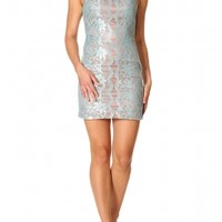 ANDREA - Pale Blue Lace Fitted Dress
