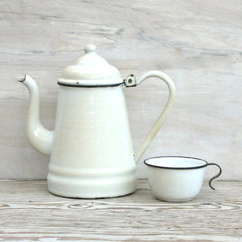 Early Enamel White Coffee Pot And Cup Rustic by ivorybird on Etsy