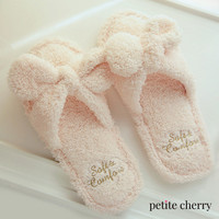 Fuzzy Fleece Bow-Tie Slippers
