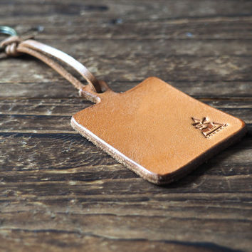 Cutting Board Leather Keychain #Natural Nude