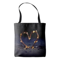 Cool heart shape made from lighting on beach sand tote bag