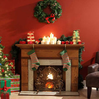 Christmas Wreath Fire Place Backdrop - x071