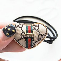 GUCCI love bow simple alloy headband rubber band hair headband Beige pattern + love
