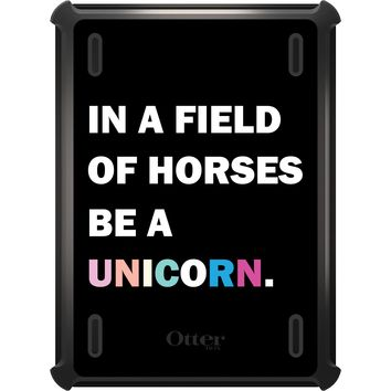DistinctInk™ OtterBox Defender Series Case for Apple iPad - In a Field of Horses, Be a Unicorn - Rainbow