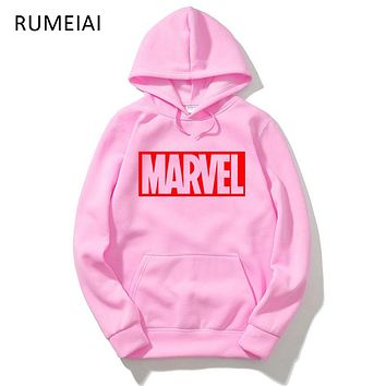 RUMEIAI Marvel Printed Men Hoodie Sweatshirt Tracksuit Harajuku Adventure Time Black Sweatwear Men EXO Kpop BTS Anime Hoodie