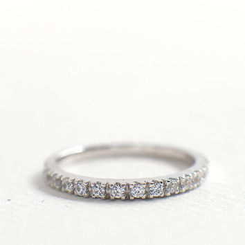 2mm Half Eternity Wedding Band - CZ Diamond Wedding Ring - Stacking Ring - Dainty Thin Band - Micro Pave Ring