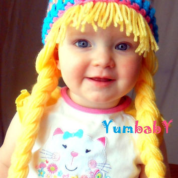 Baby GIrl Hat- Earflaps- Hippie Beanie with Pigtails- Blue Yellow Pink Winter Beanie- photoprop- Beanie Wig