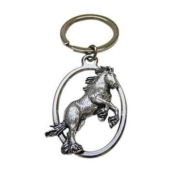 Jumping Wild Horse Oval Key Chain