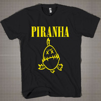 Piranha - Nirvana Parody Logo  Mens and Women T-Shirt Available Color Black And White
