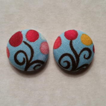 Whimsical Trees- fabric covered button earrings
