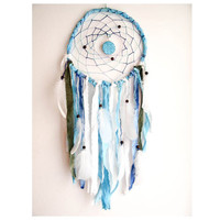 Large Dream Catcher  Blue Moon  With Turquoise by perpetumobile