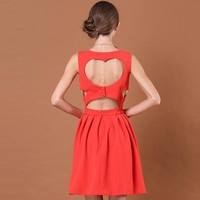 Bqueen Heart Cut Out Back Red Dress TD007R - Designer Shoes|Bqueenshoes.com