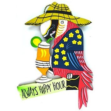 Hand Carved Wooden ALWAYS HAPPY HOUR Cocktails Parrot Drinking BEACH Sign
