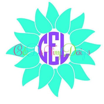 Monogram Sunflower Decal - Monogram Sunflower Decal - Monogram Car Decal - Monogram Decal - Car Decal - Monogram Sunflower - Sunflower Decal