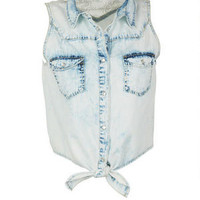 Chambray Tie-Front Lace Back Shirt