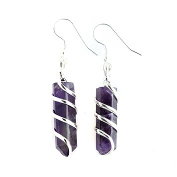 Amethyst Point Wrapped Earrings