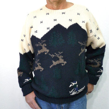 Mens Wool Sweater Hand Knit 1980s Byford Deer Tree Snow Ski X Large