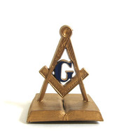 Vintage Freemasons Magnet / G Compass, book and Square symbol