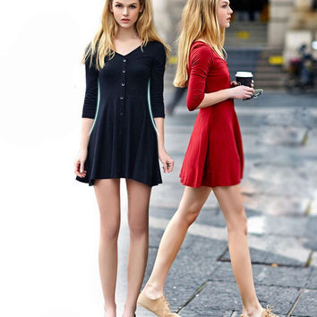 Women Very Cosy Dress Fashion V-neck Solid Cotton Dress Gift-102