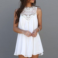 New 2016 Summer Women Ladies Casual Boho Sleeveless White Lace Crochet Sexy Long Tops Blouse Shirts Beach Party Club Dresses Z1