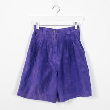 Vintage 80s Shorts Purple Suede Leather Shorts Pleated High Waisted Shorts 1980s Long Mom Shorts Soft New Wave Colored Suede Shorts S Small