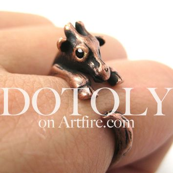 Baby Giraffe Animal Wrap Around Ring in Copper - Sizes 4 to 9 Available