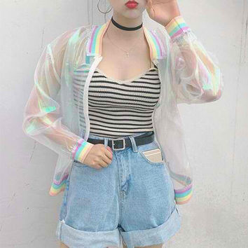 Harajuku Rainbow Transparent Jacket