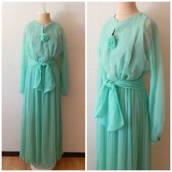 Vintage 70s Mint Green Full Length Sheer Formal Cocktail Bridesmaid Prom Dress S