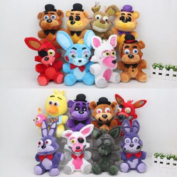 In stock  At  4  Freddy Fazbear Bear Foxy Bonnie chica Plush Toys soft stuffed toy doll 25cm