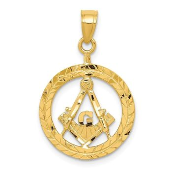 14k Yellow Gold Wreath with Masonic Symbol Pendant, 16mm (5/8 Inch)