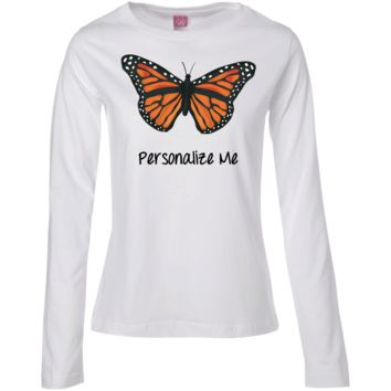 Monarch Butterfly Personalized Ladies' Long Sleeve Cotton T-Shirt