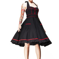 This vintage inspired 50's pinup dress features dainty polka dot pattern print throughout, sweetheart neckline with self-tied halter straps, red fabrication covered buttoned bodice, centre front seam with red piping, seams over bust for shaping with red pi
