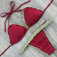 MINH 2017 Newest Hot Bikini Set Red Solid Color Swimwear Women Sexy Swimsuit Halter Top Bikinis Thong Style Beach Bathing Suit