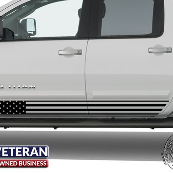 Universal American Flag Door Runner Set Vinyl Decal Set: Fits Any Dodge Ram Ford Chevy Nissan Toyota