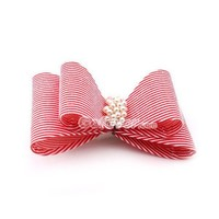 Fashion Red&White Stripe Pearl Hair Barrette at Online Cheap Fashion Jewelry Store Gofavor