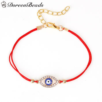 DoreenBeads Polyester Red String Braided Friendship Women Bracelets Gold Plated Blue Evil Eye Clear Rhinestone 19cm long 1 Piece