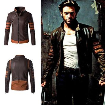Wolverine Jacket Zip Slim Fit Faux PU Leather Biker Jacket Male Winter Brown Vintage Motorcycle Leather Jackets Men Plus Size 4XL