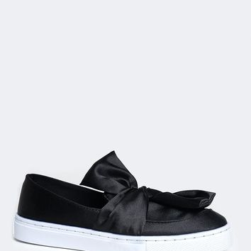 Satin Bow Slip On Sneaker